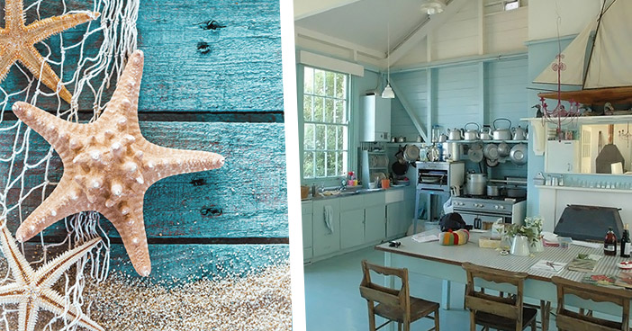 Blue Seaside Style Kitchen