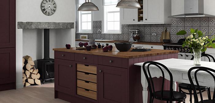 Beautiful Linda Barker Kitchen With Island In Aubergine