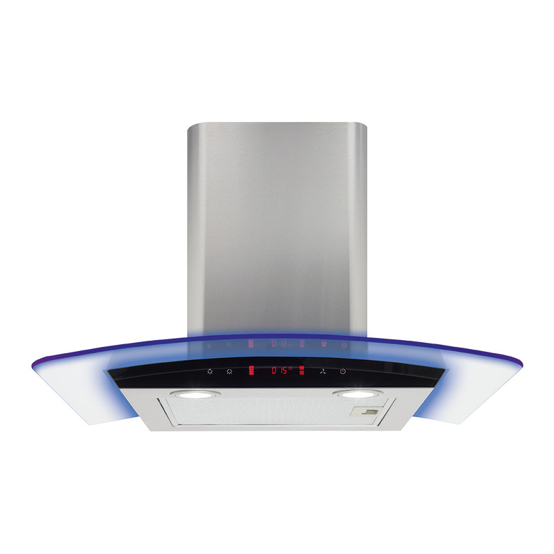 CDA H810xW600xD490 Curved Glass Chimney Hood - Stainless Steel primary image