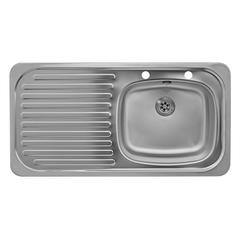 935x485 Tudor LHD S/Steel Sink and Pillar Tap Pack additional image 1