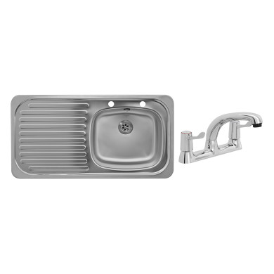 935x485 Tudor LHD S/Steel Sink and Deck Tap Pack
