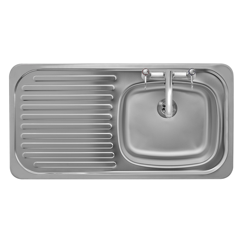 935x485 Tudor LHD S/Steel Sink and Deck Tap Pack additional image 2