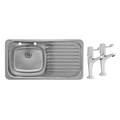 935x485 Tudor RHD S/Steel Sink and Lever Pillar Tap Pack