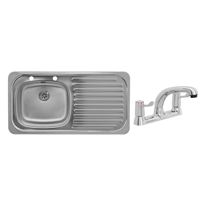 935x485 Tudor RHD S/Steel Sink and Deck Tap Pack primary image