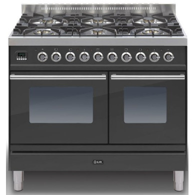Ilve Roma 100cm Range Cooker Twin 6 Burner Black Matt - PDW1006E3/M