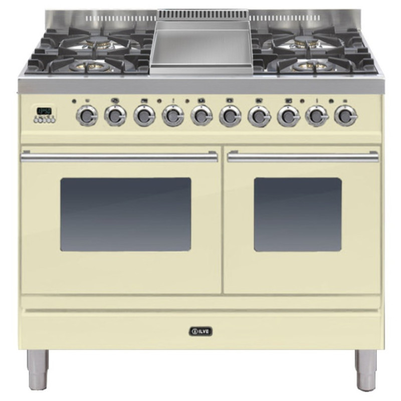 ILVE Roma 100cm Twin Range Cooker 4 Burner Fry Top Cream - PDW100FE3/A primary image