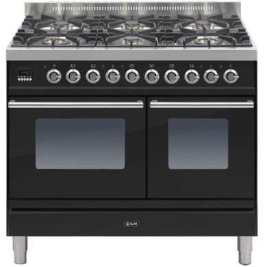 ILVE Roma 100cm Twin Range Cooker 6 Burner Gloss Black - PDW1006E3/N
