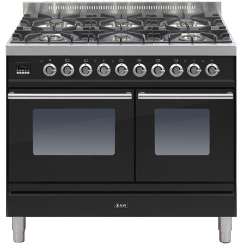 ILVE Roma 100cm Twin Range Cooker 6 Burner Gloss Black - PDW1006E3/N primary image