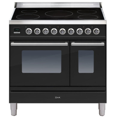 ILVE Roma 90cm Twin Range Cooker 5 Zone Induction Gloss Black - PDWI90E3/N