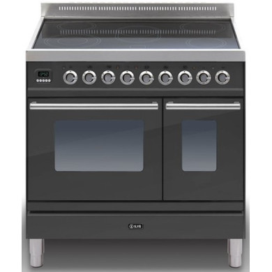 ILVE Roma 90cm Twin Range Cooker 5 Zone Induction Matt Black - PDWI90E3/M