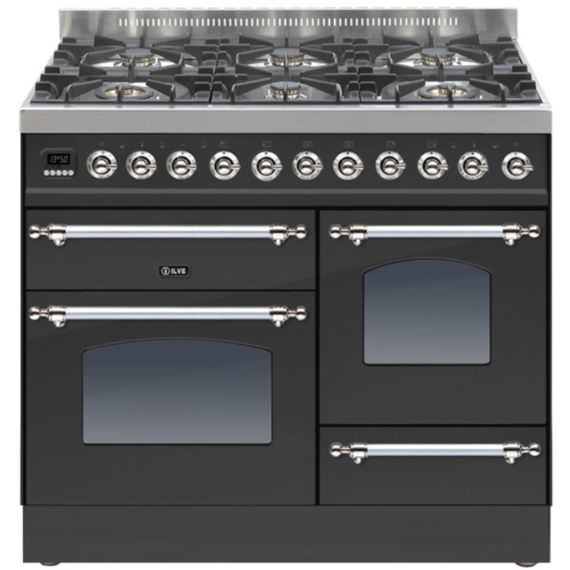 ILVE Milano 100cm XG Range Cooker 6 Burner Matt Black Chrome - PTN1006E3/MX primary image