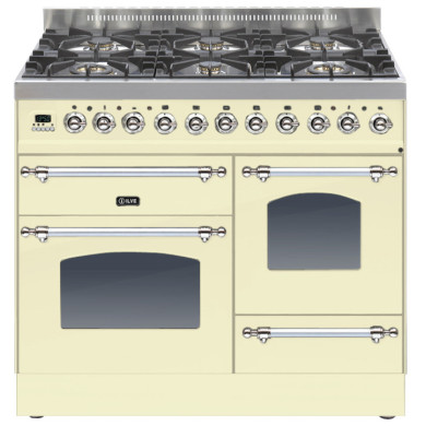 ILVE Milano 100cm XG Range Cooker 6 Burner Cream Chrome - PTN1006E3/AX