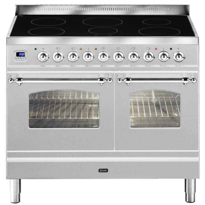 ILVE Milano 100cm Twin Range Cooker 6 Zone Induction Stainless Steel Chrome - PDNI100E3/IX primary image