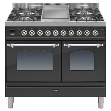 ILVE Milano 100cm Twin Range Cooker 4 Burner Fry Top Matt Black Chrome - PDN100FE3/MX