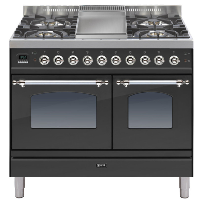 ILVE Milano 100cm Twin Range Cooker 4 Burner Fry Top Matt Black Chrome - PDN100FE3/MX primary image