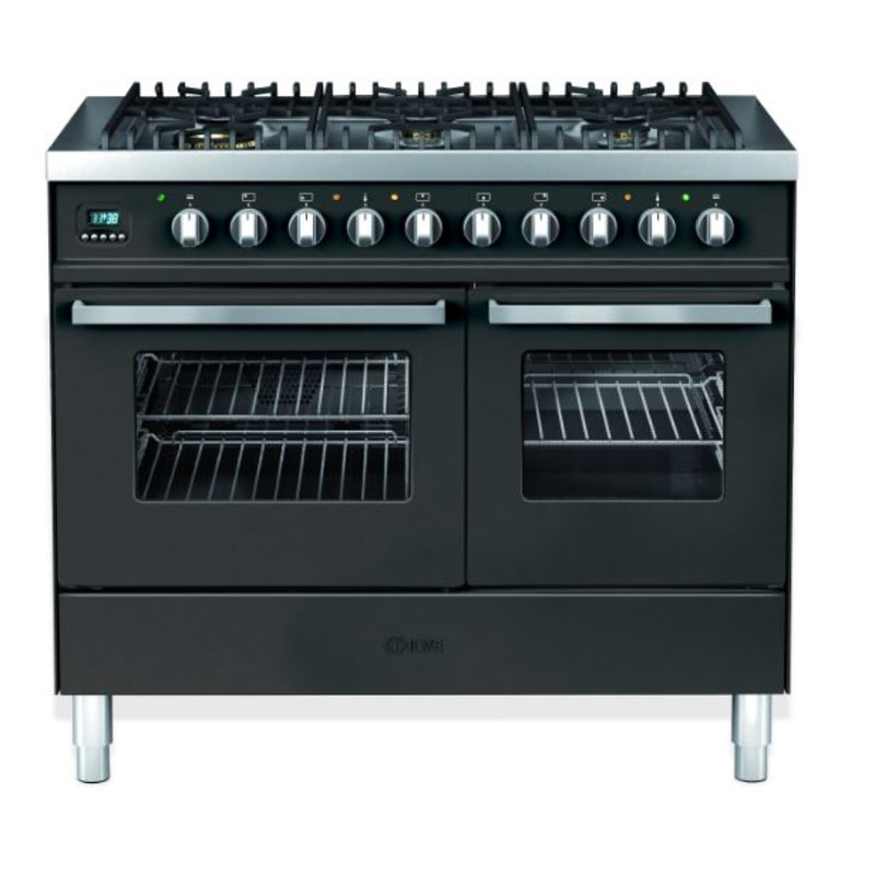 Ilve Venezia 100cm Twin Range Cooker 6 Burner Gloss Black primary image