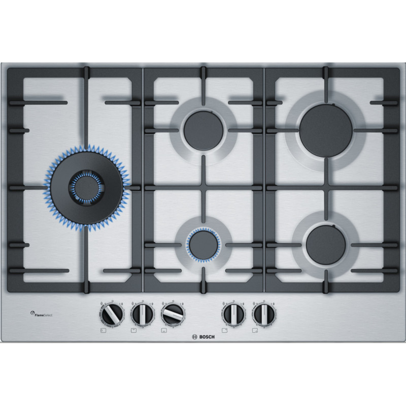 Bosch H45xW750xD520 Gas 5 Burner Hob With Flameselect-S/Steel primary image