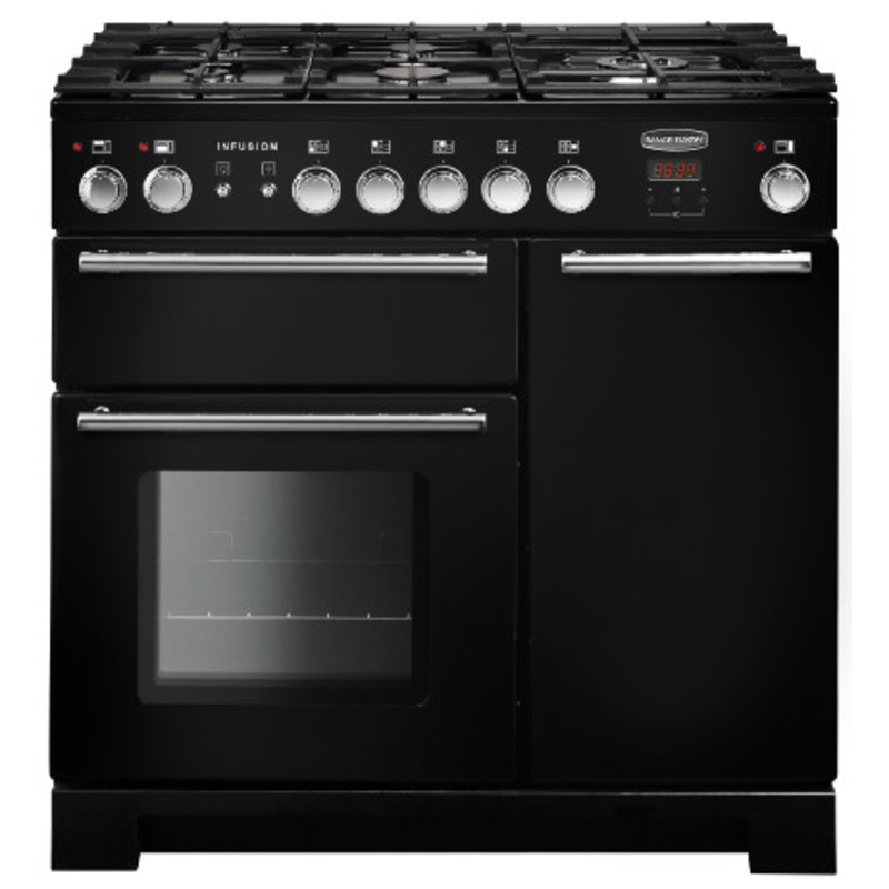Rangemaster Infusion 90cm Dual Fuel Range Cooker - Black primary image