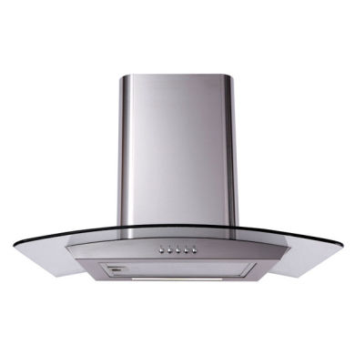 Matrix H731xW600xD500 Curved Glass Chimney Cooker Hood - Stainless Steel