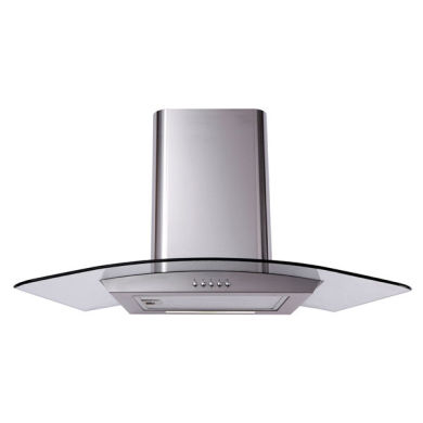 Matrix H731xW900xD500 Curved Glass Chimney Cooker Hood - Stainless Steel