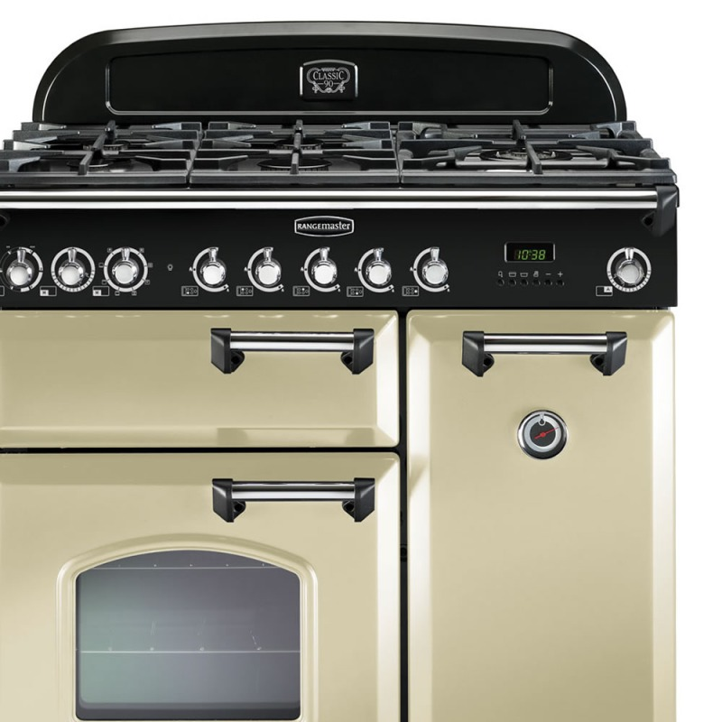 Rangemaster CDL90DFFCR/C Classic Deluxe 90 Dual Fuel FSD - Cream/Chrome - CDL90DFFCR/C additional image 2